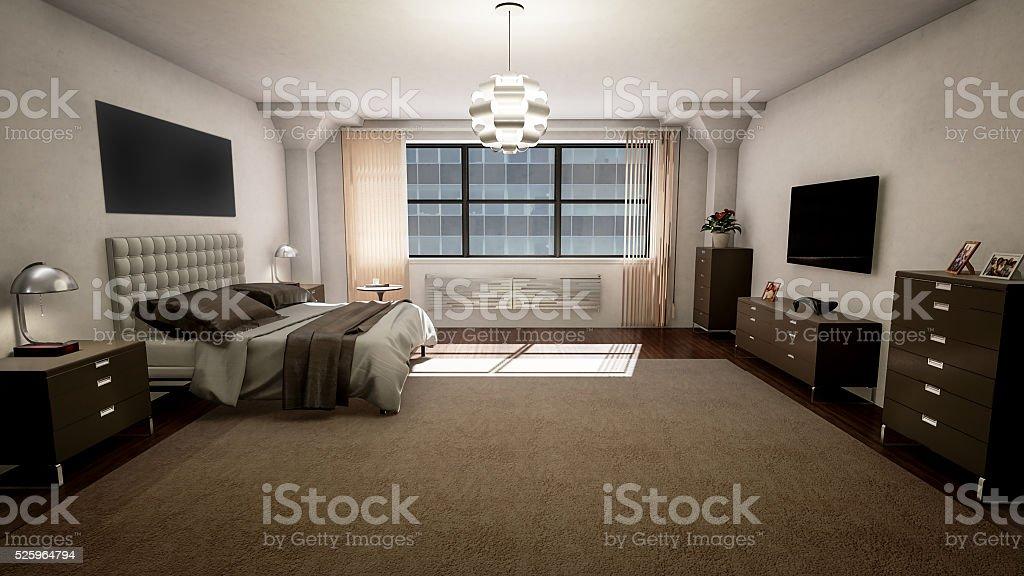 Modern Bedroom Style Interior (16:9 UHD) stock photo