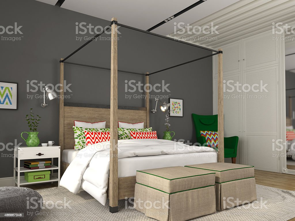 Modern bedroom with colorful decoration stock photo