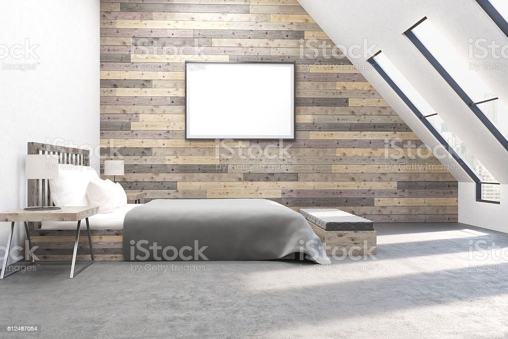 Modern bedroom with comfortable furniture stock photo