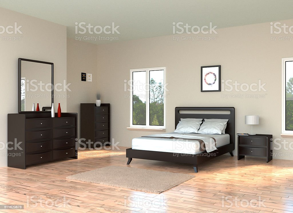 Modern Bedroom with hardwood floor stock photo