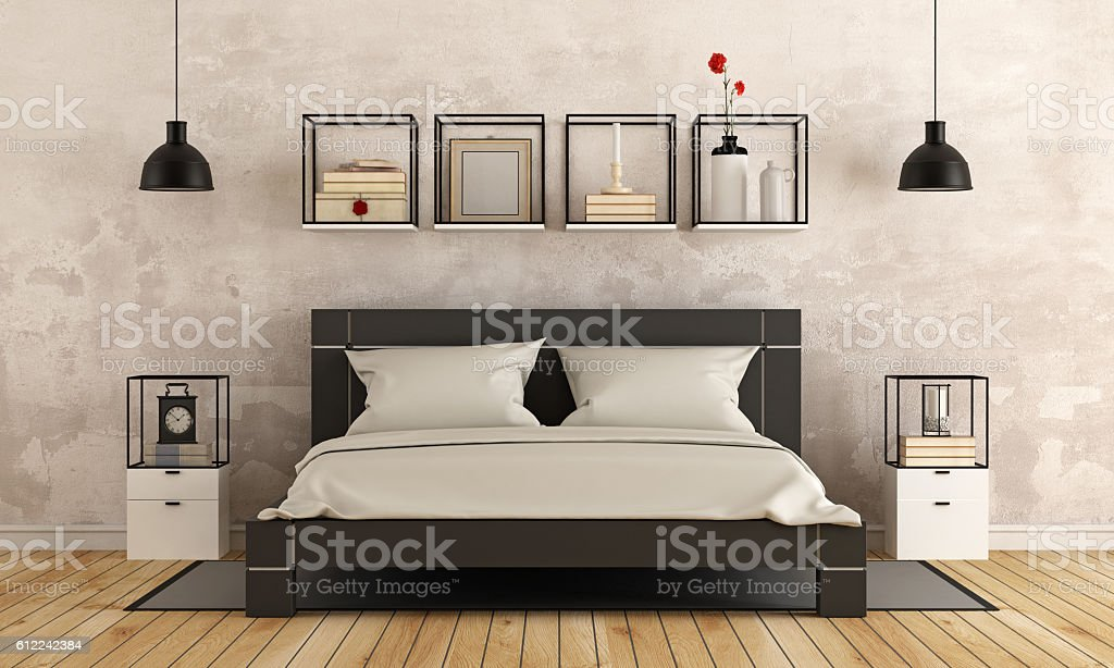 Modern bedroom with old wall stock photo