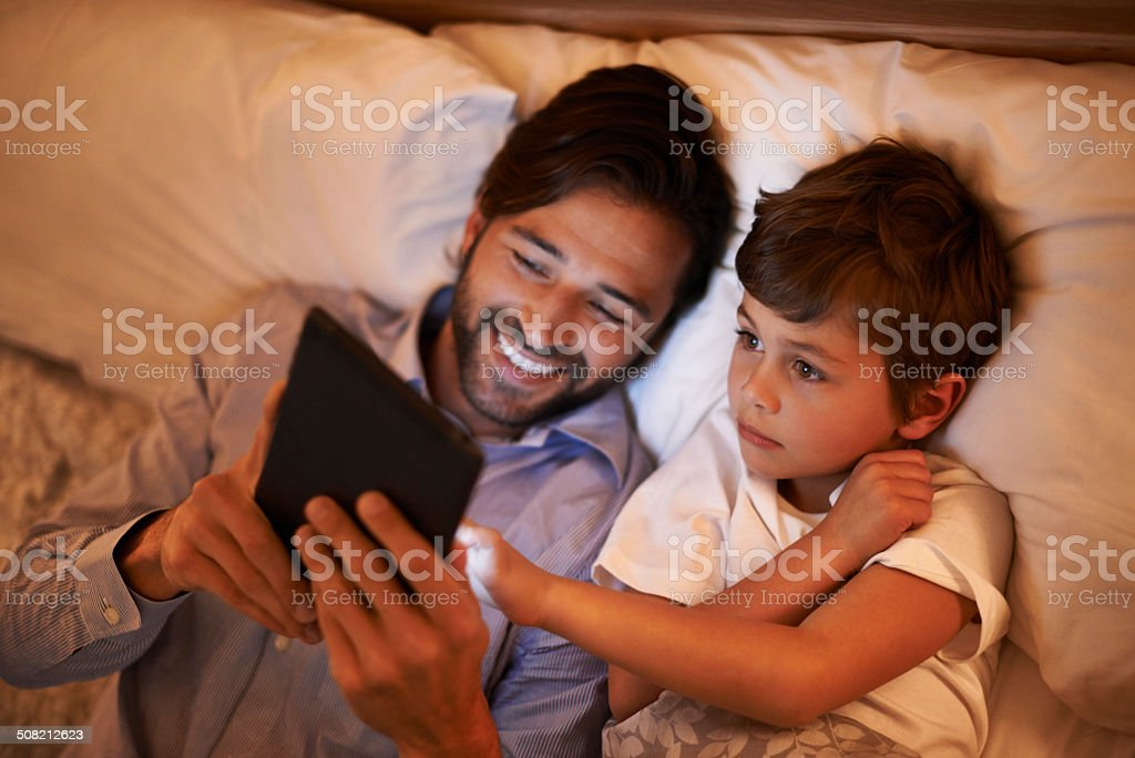 Modern bedtime story stock photo