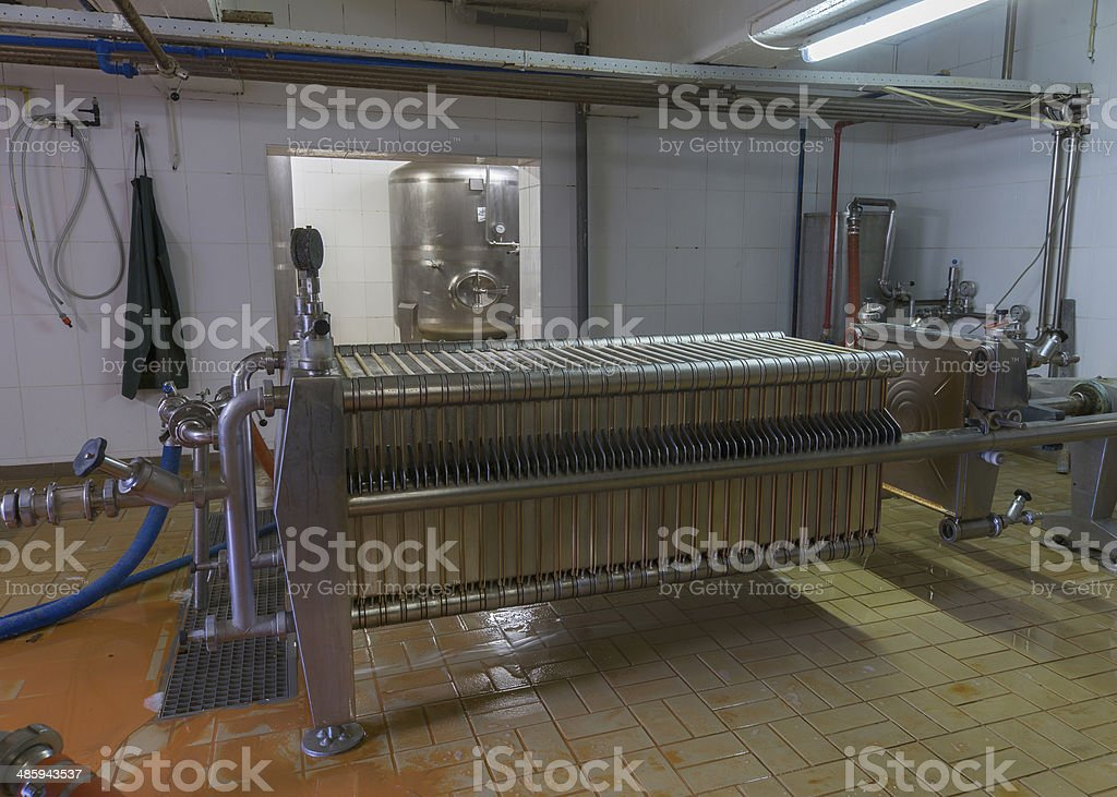 Modern Beer filter installation at Brewery. stock photo