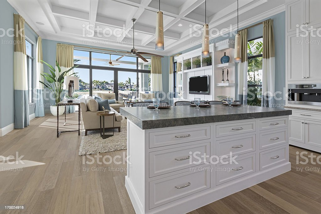 Modern beige and white kitchen. stock photo