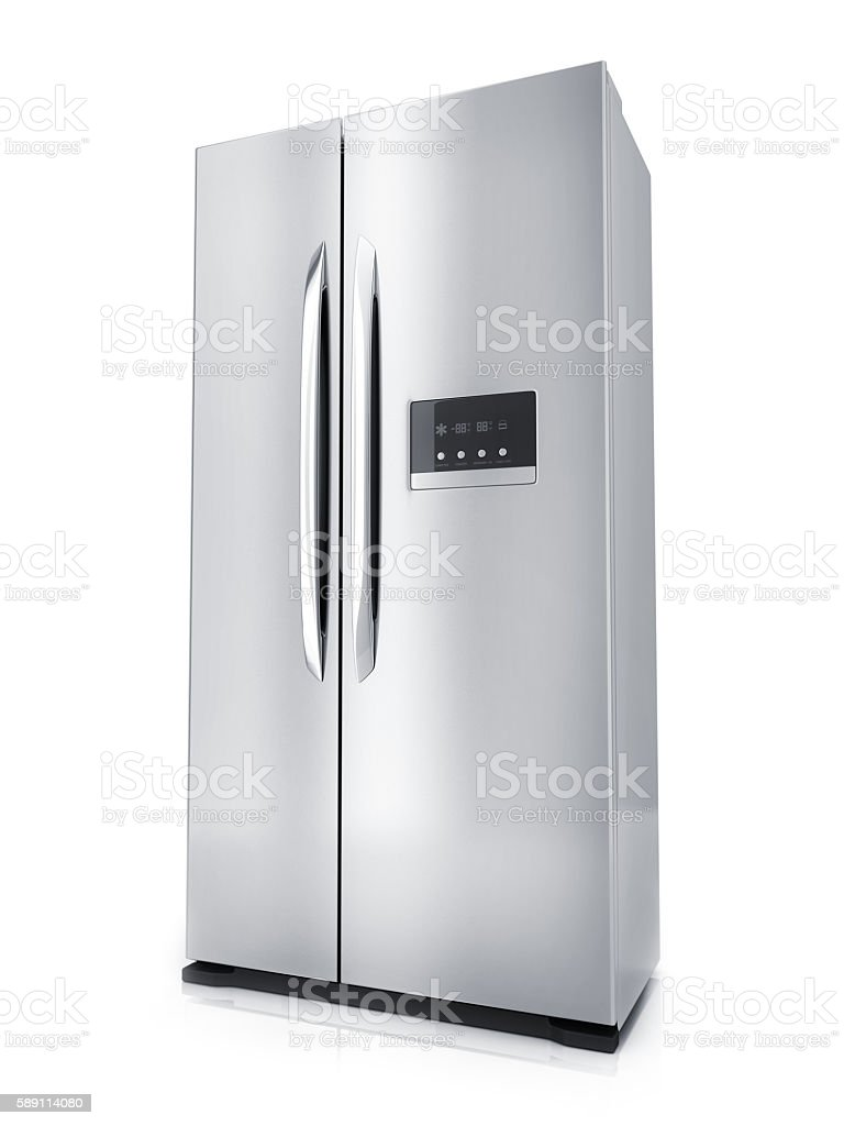 Modern big refrigerator stock photo