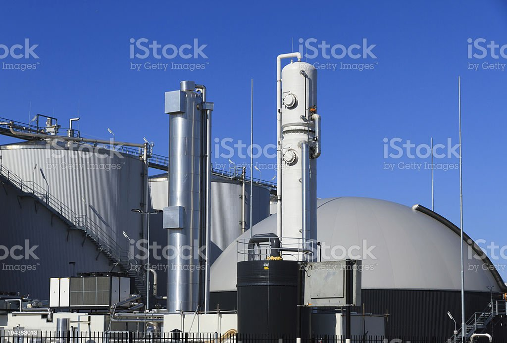 Modern biogas plant royalty-free stock photo