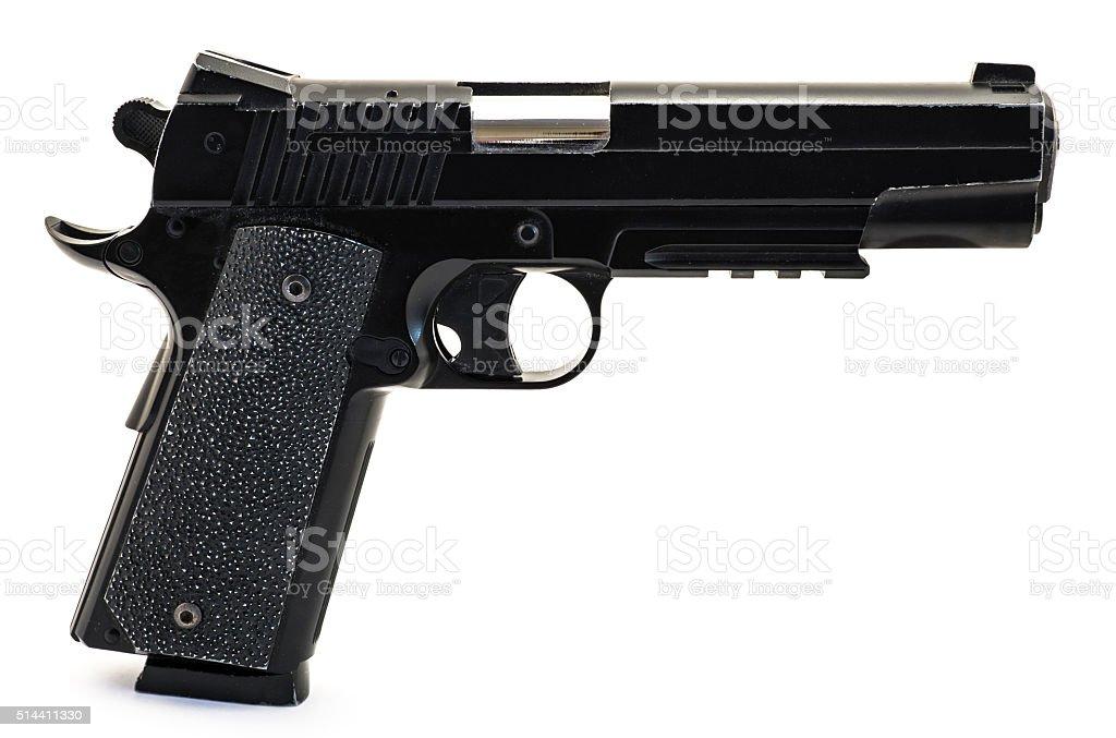 Modern black and chrome pistol gun isolated on white stock photo