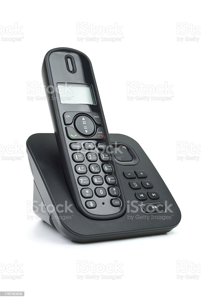 Modern black digital cordless phone with answering machine stock photo