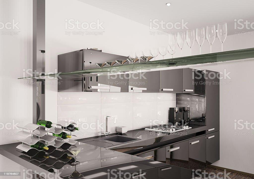 Modern black kitchen interior 3d render royalty-free stock photo