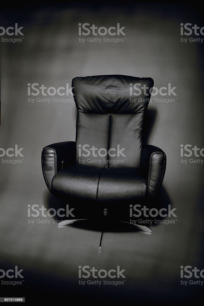 Modern Black Leather Easy Chair stock photo