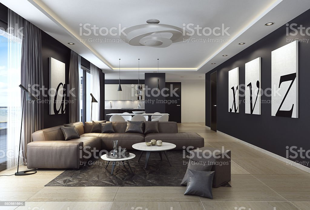 Modern black luxury style apartment with leather sofa stock photo