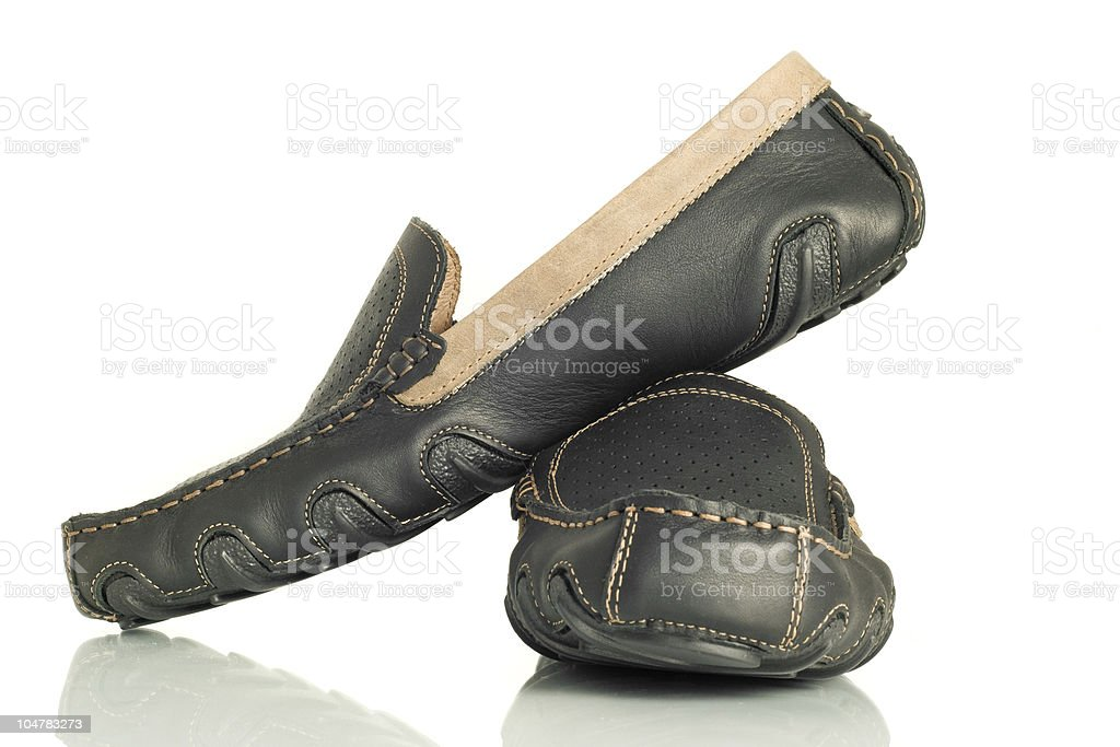 Modern black mens shoes moccasins royalty-free stock photo