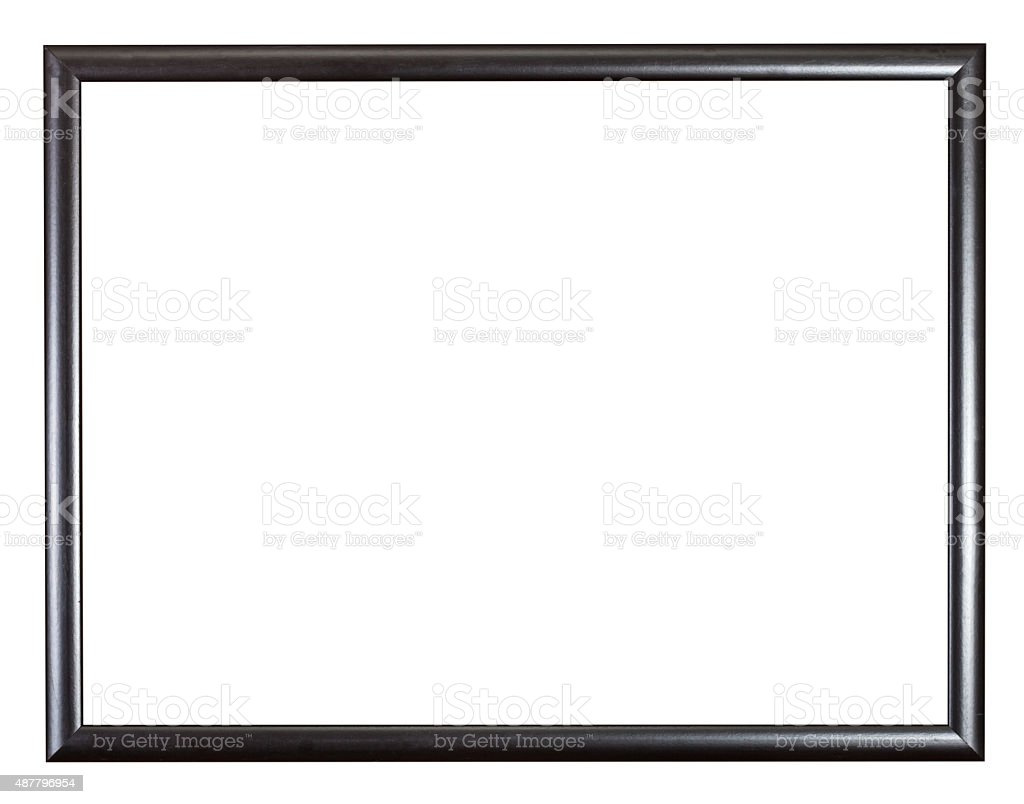 modern black narrow wooden picture frame stock photo