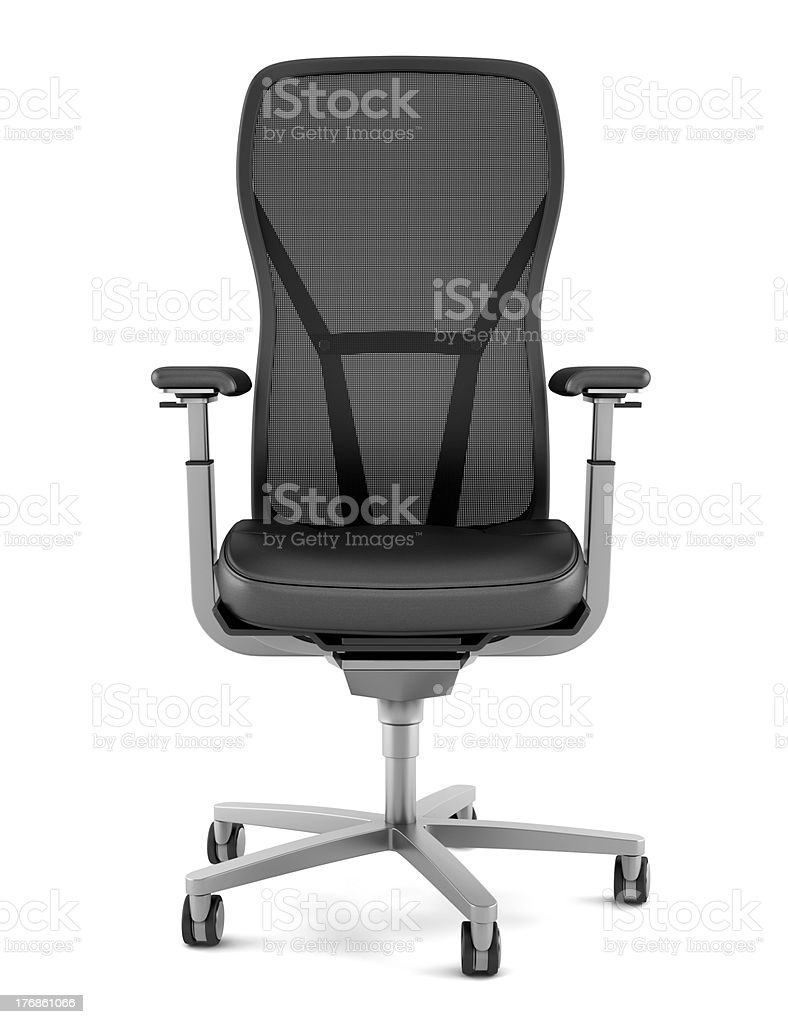 modern black office chair isolated on white background stock photo