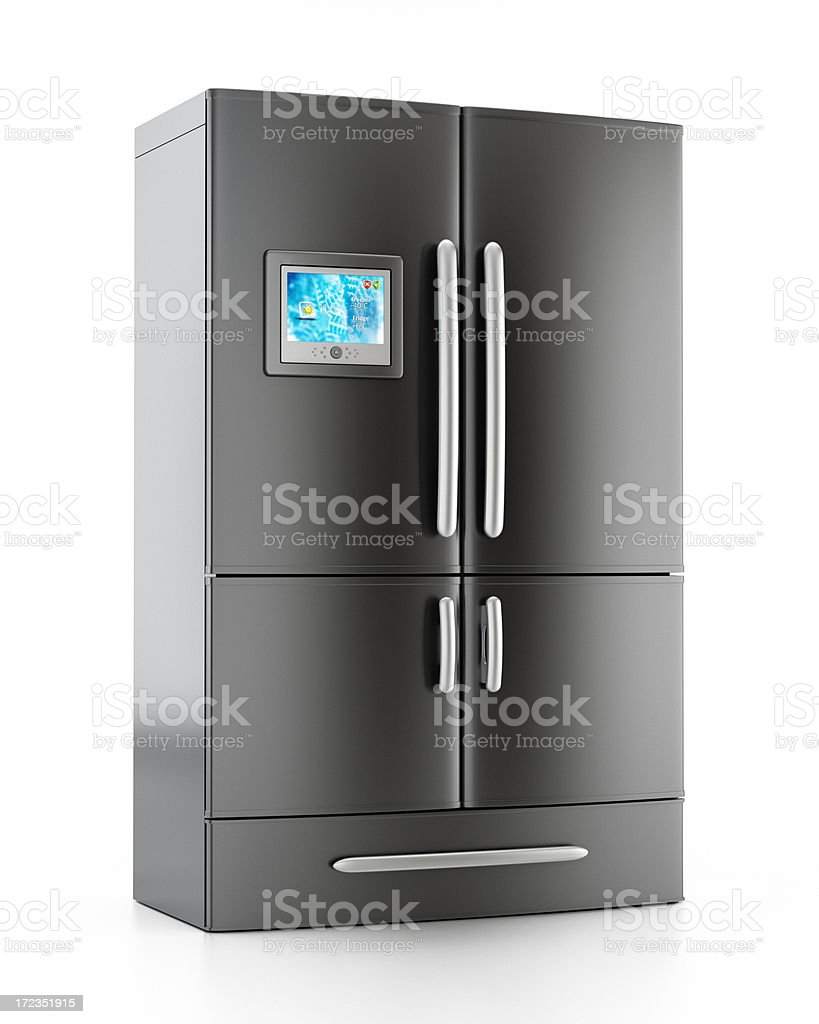 Modern black refrigerator with touchpad screen royalty-free stock photo