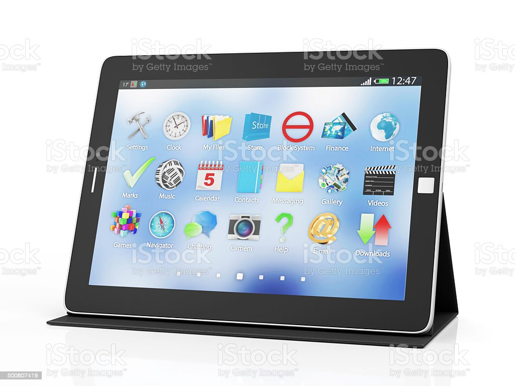 Modern Black Tablet PC on Stand stock photo