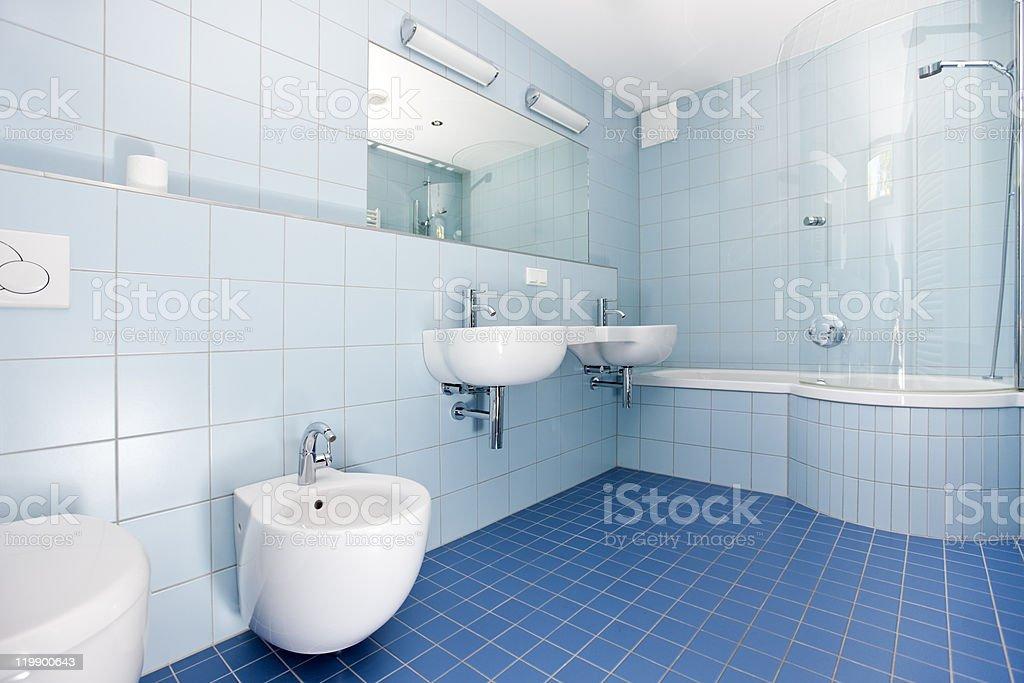 modern blue bathroom royalty-free stock photo