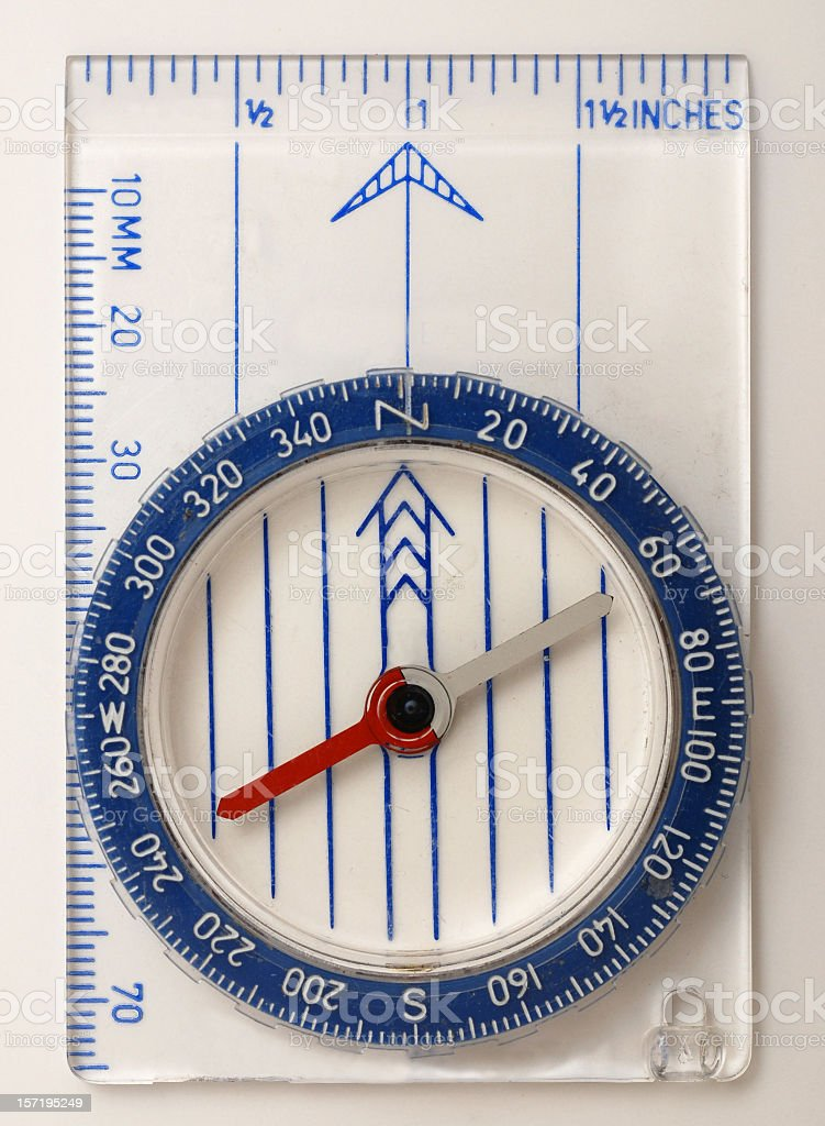 Modern blue compass on a ruler royalty-free stock photo