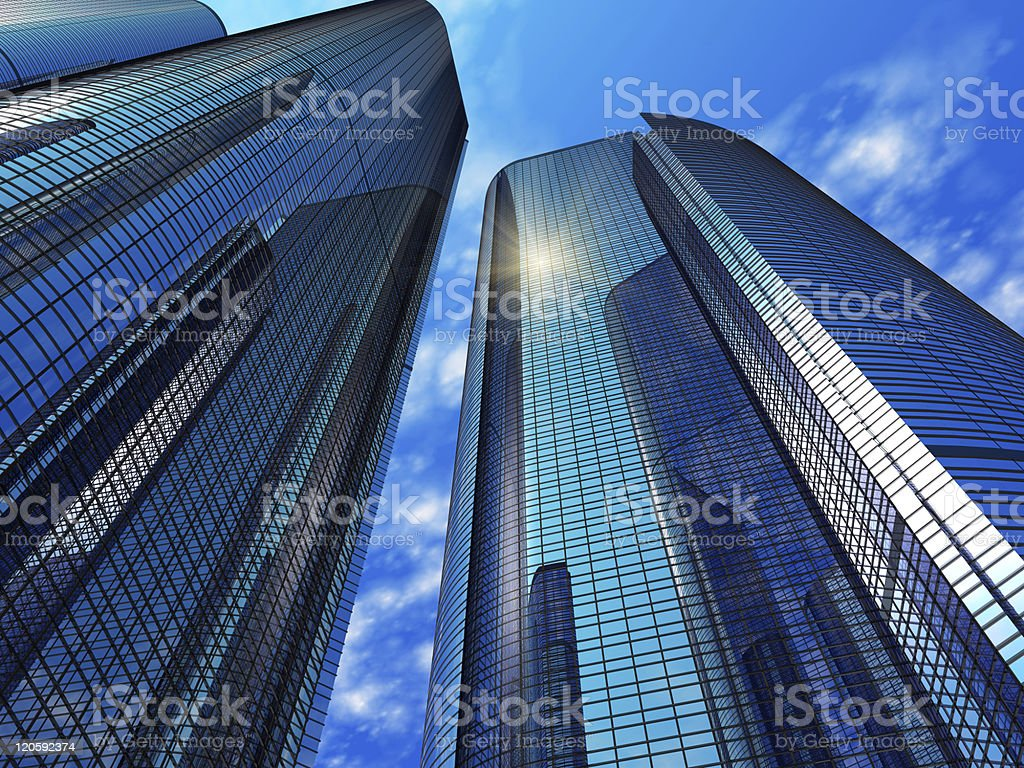 Modern blue reflective office buildings stock photo