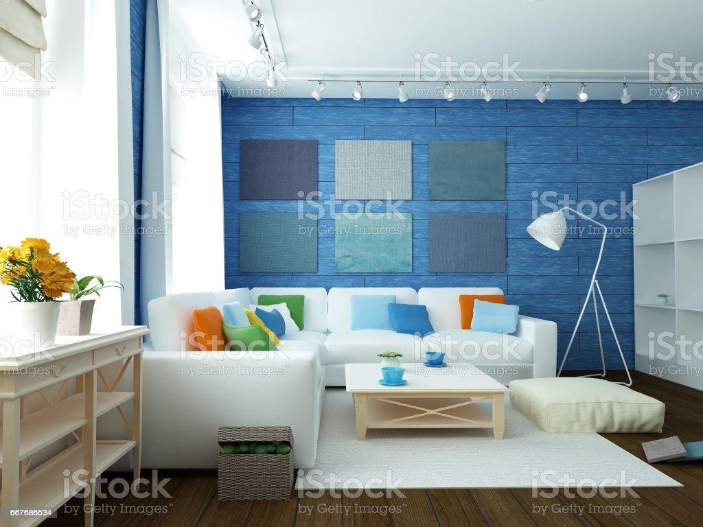 modern blue room stock photo