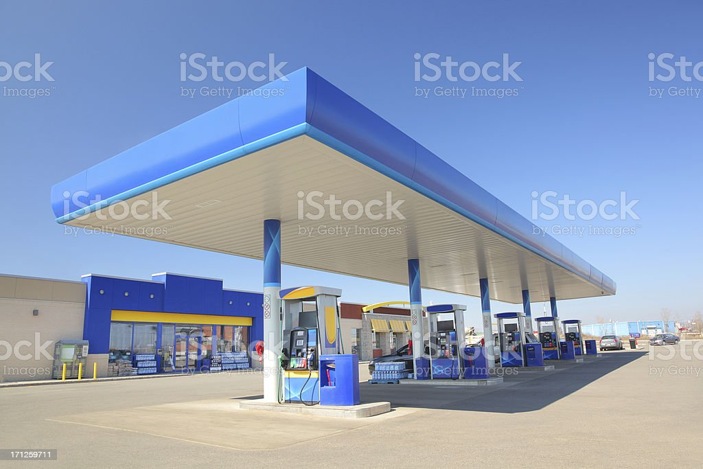 Modern Blue Service Station stock photo