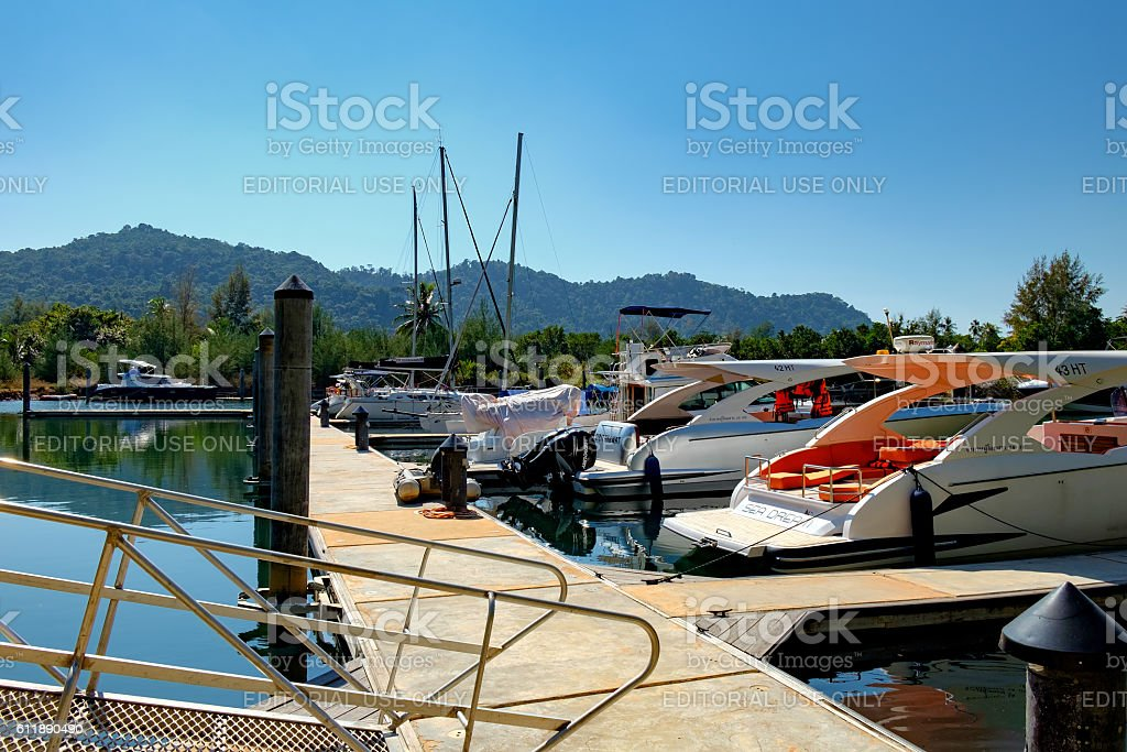 Modern Boats to drop anchor in harbour, Koh Chang, Thailand stock photo