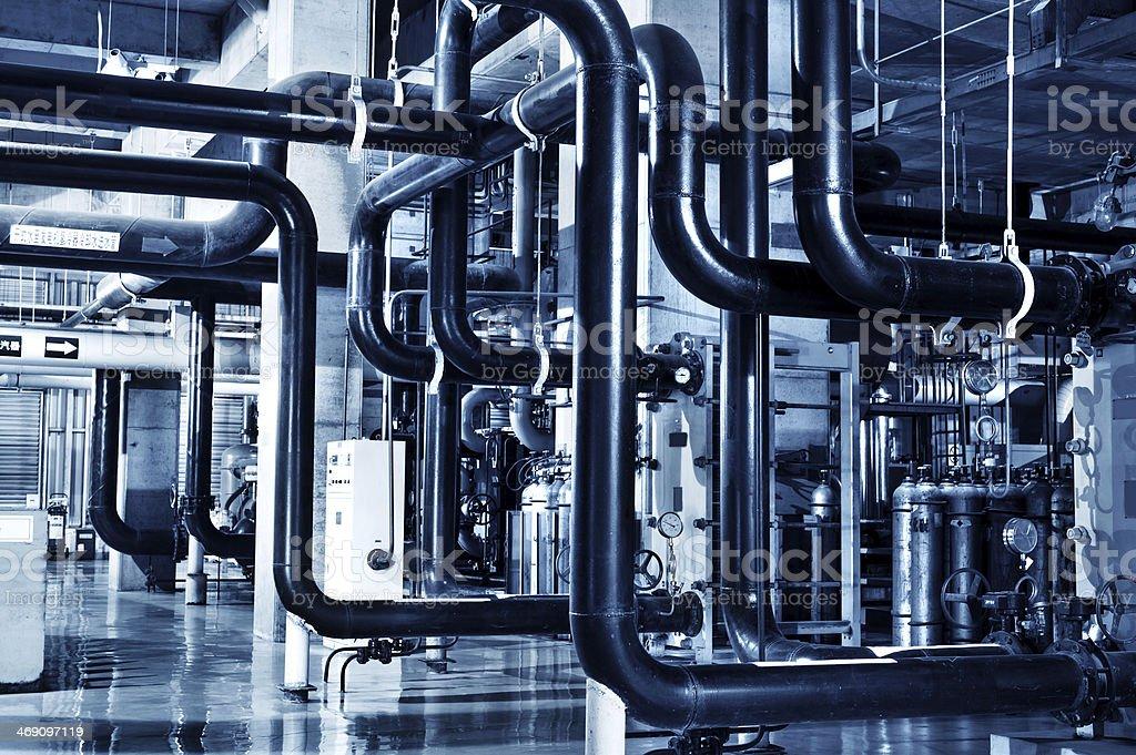 Modern boiler room equipment for heating system royalty-free stock photo