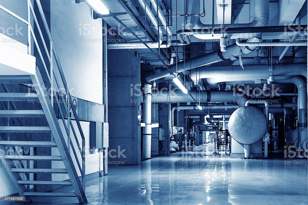 Modern boiler room equipment for heating system stock photo