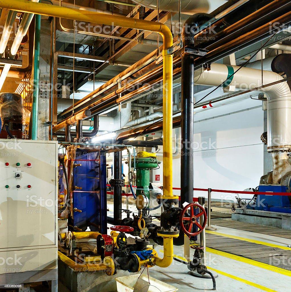 Modern boiler room equipment for heating system. stock photo