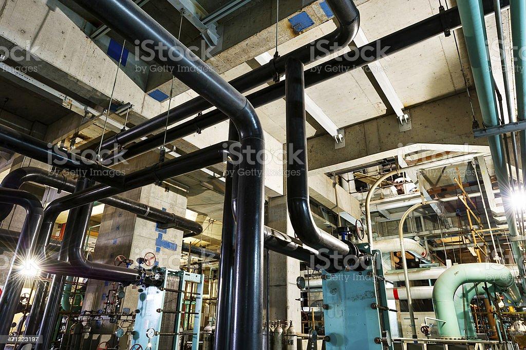 Modern boiler room equipment stock photo