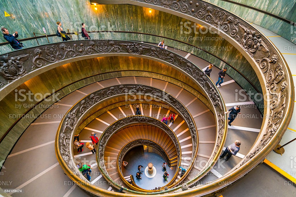 Modern Bramante Staircase in Vatican stock photo