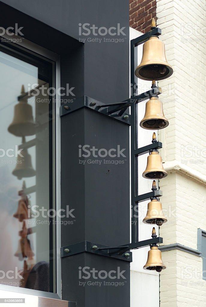 modern brass bell carillon stock photo