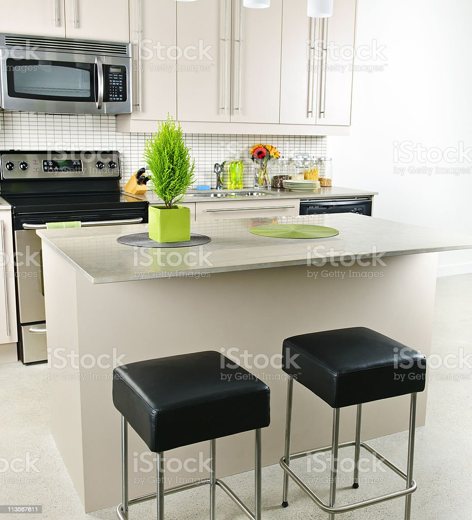 A modern breakfast nook in a kitchen  royalty-free stock photo