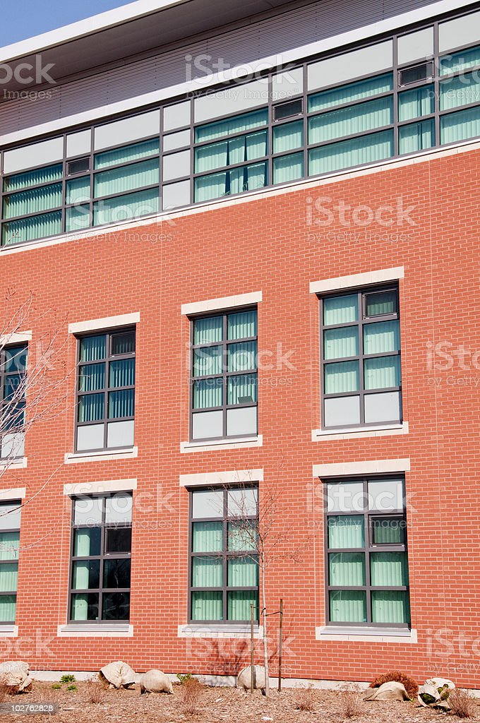 Modern brick and glass building stock photo