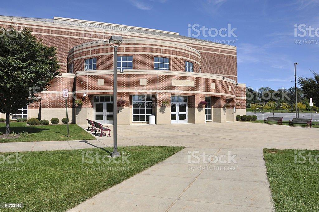 modern brick high school stock photo