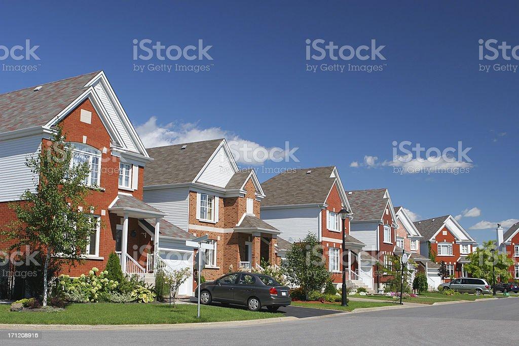 Modern Brick Home Neighborhood stock photo