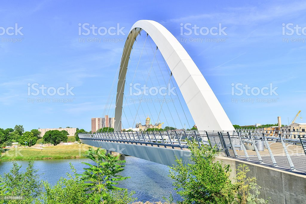 Modern Bridge and Capitol Building in Des Moines, Iowa stock photo