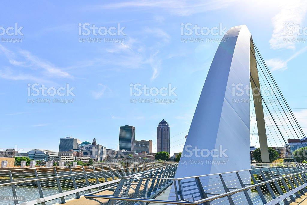 Modern Bridge and Des Moines Skyline stock photo