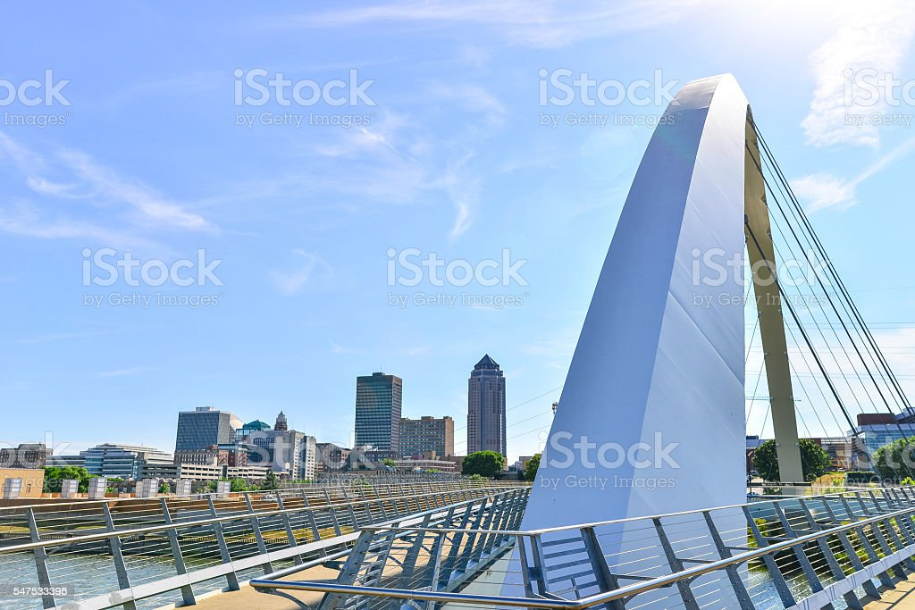 Modern Bridge and Des Moines Skyline stock photo