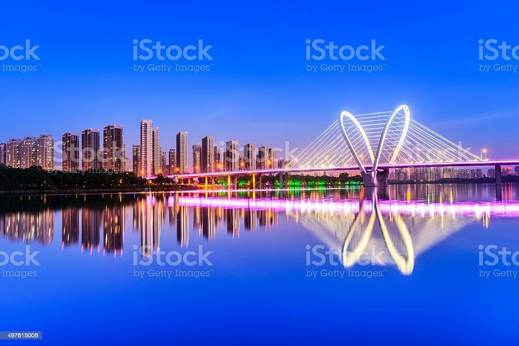Modern bridge  and skyscraper stock photo