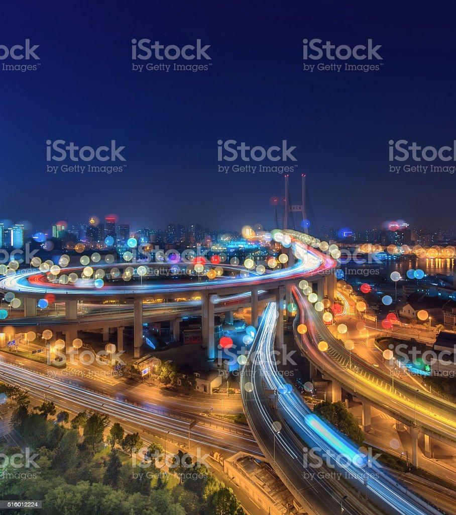 Modern bridge at Night in Shanghai,China stock photo
