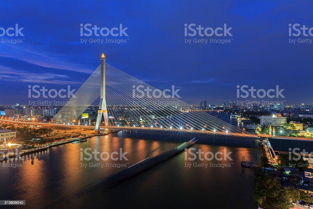 Modern bridge at night time. stock photo
