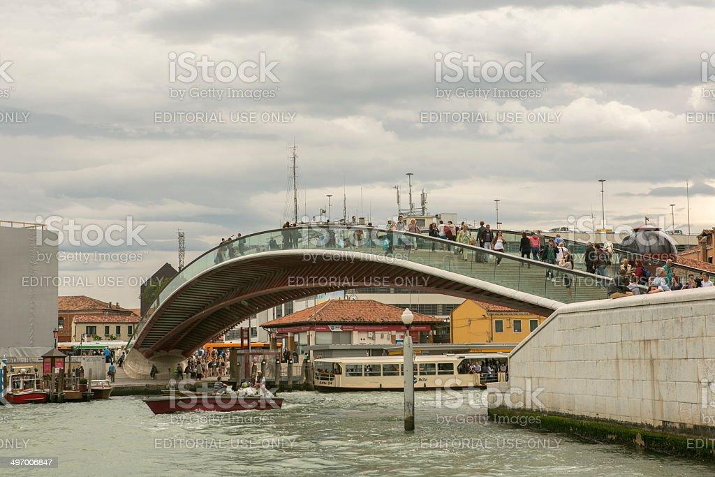 modern bridge at venice italy stock photo