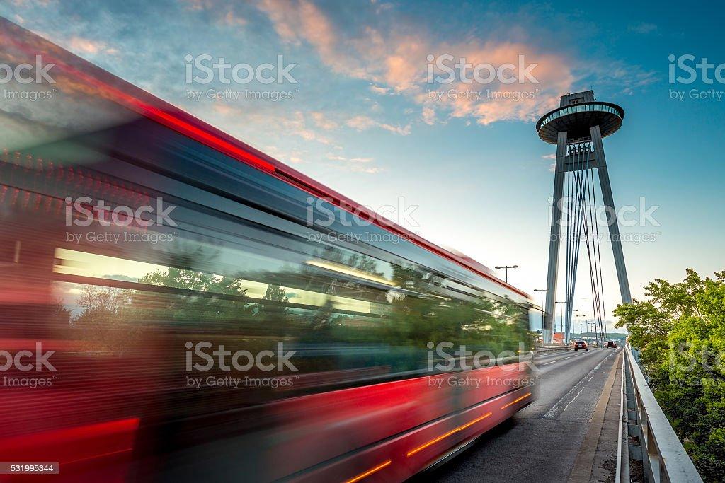 Modern bridge in Bratislava city stock photo