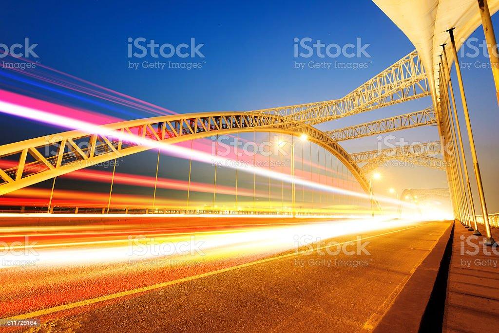 Modern bridge Night stock photo