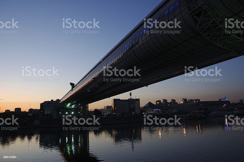 modern bridge (sunset) stock photo
