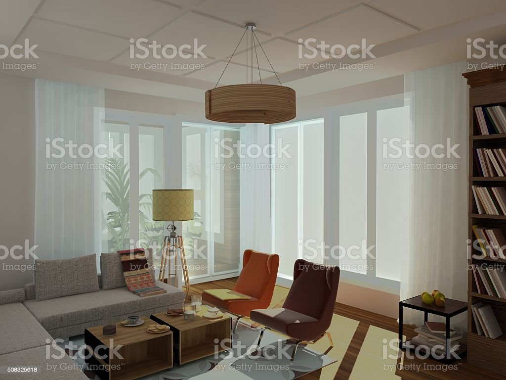 Modern, bright, cozy sitting room, 60-th style stock photo