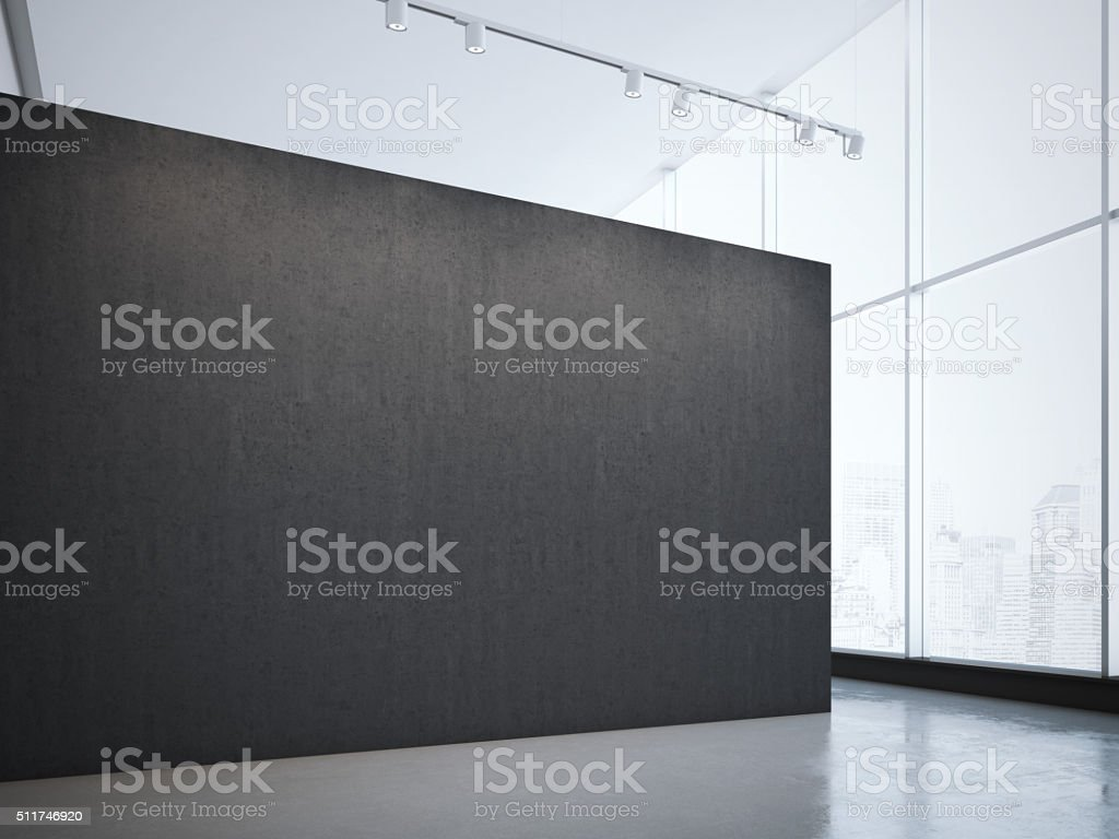 Modern bright gallery with black wall and spotlights. 3d rendering stock photo