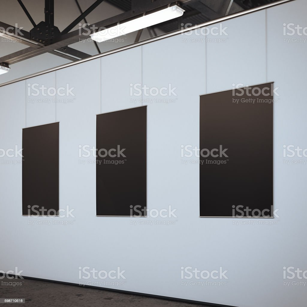 Modern bright gallery with three blank frames. 3d rendering stock photo