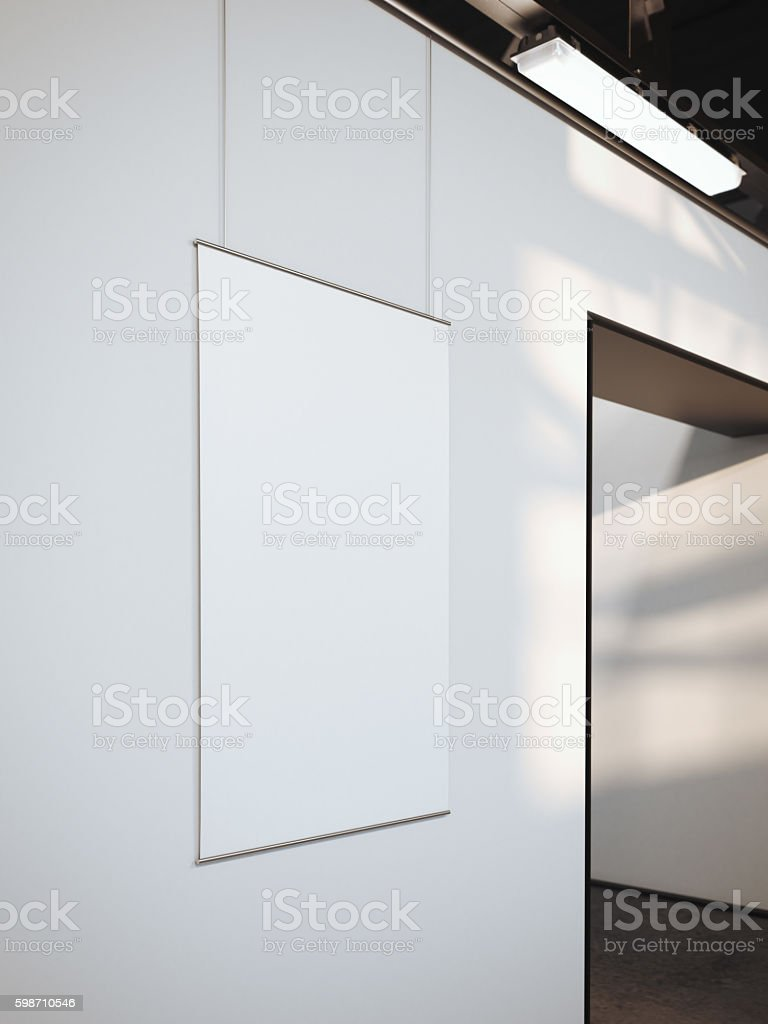 Modern bright gallery with white poster. 3d rendering stock photo